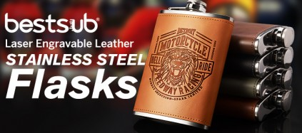 Laser Engravable Leather Stainless Steel Flasks