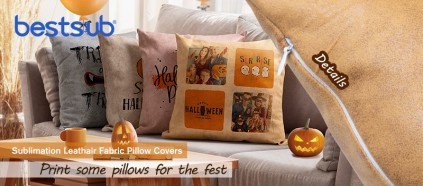 Check BestSub All-NEW Sublimation Pillow Covers Made of Leathaire Fabric!