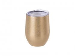 12oz/360ml Stainless Steel Stemless Glitter Cup w/ Lid (Rose Gold)