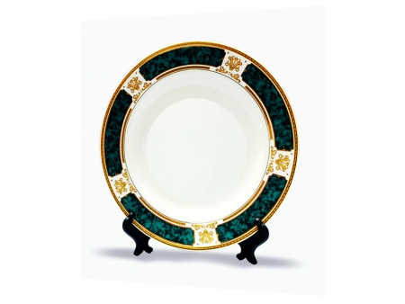 7.5'' Rim Plate with Green Design