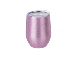12oz/360ml Stainless Steel Stemless Glitter Cup w/ Lid (Pink)