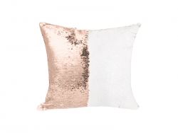 Flip Sequin Pillow Cover (Champagne w/ White, 40*40cm)