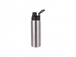 25oz/750ml Stainless Steel Flask w/ Portable Lid (Silver) MOQ:3000