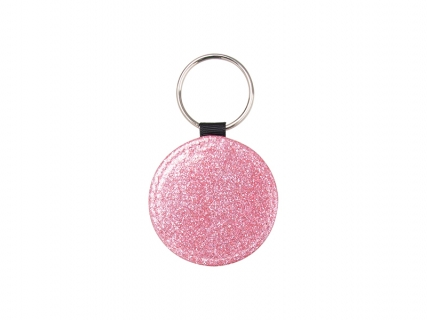 Glitter PU Leather Key Chain (Round, Pink)